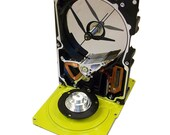 FREE SHIPPING! Gloss Yellow Computer Hard Drive Clock--from Recycled Computer, Striking Color.