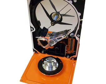 SPECIAL SALE: Computer Hard Drive Clock--from Recycled Computer, Striking Color, Glossy Orange.