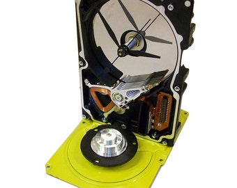 FREE SHIPPING USA! Gloss Yellow Computer Hard Drive Clock--from Recycled Computer, Striking Color.