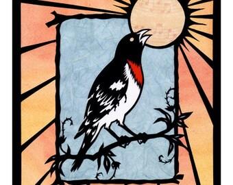 Bird ART PRINT Nature Art Grosbeak Cut Paper Silhouette Collage