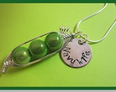 Special Listing- Sweet Peas in a Pod Necklace (2, 3, or 4 peas- pick your color) with a hand stamped disc