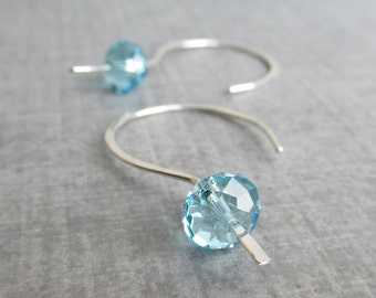 Light Blue Crystal Earrings, Crystal Dangle Earrings, Blue Earrings, Sterling Silver Wire Earrings, Earrings Blue, Silver Earrings Wire Blue