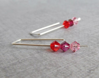 Red Crystal Earrings, Minimalist Earrings, Modern Wire Earrings, Sterling Silver Small Earrings