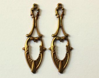 Oxidized Brass Elegant Art Deco Dangle Charms - Earring Findings
