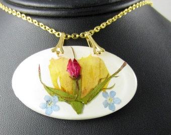 Yellow Rosebud, Pressed flower Jewelry, Real Flowers in Jewelry,  Resin (1534)
