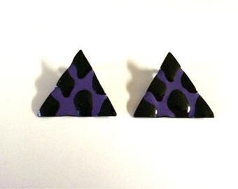 Vintage Jewelry Women's 80's Earrings, Black, Purple, Triangle