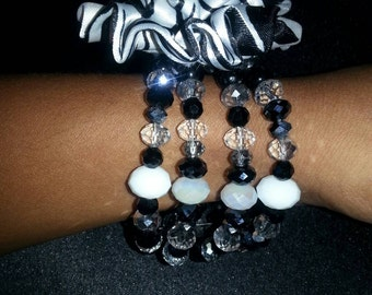 Black & White Zebra Print Fabric Flower Bracelet