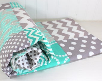 Baby Bedding, Baby Blanket, Baby Quilt, Baby Nursery Decor, Baby Shower Gift, Teal Blue, Mint Green, Turquoise, Gray, Grey, White, Boy, Girl