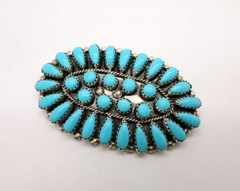 Vintage Sterling Silver and Turquoise Cluster Brooch Pin by P Jones