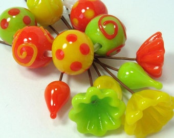 Lampwork glass beads  -  Flamboyant Citrus   -   flower headpins, yellow, orange, tangerine, lime