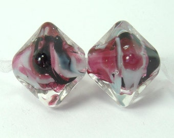 Lampwork beads  -  Will o the Wisp  -  Dusk   -  pink, blue, crystal shaped earring pair, purple glass beads
