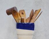 large kitchen utensil holder  ceramic utensil navy kitchen decor