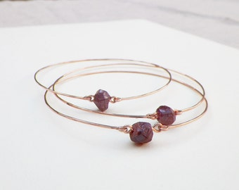 Romantic Raw Garnet and Rose Gold Bangles, set of three delicate thin pink and red mineral bracelets