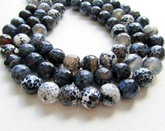 Midnight Blue Black and White Disco Ball Faceted Agate Rounds Half Strand