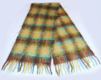 Vintage Scarf Mohair Brown Gold  Green  Aqua Plaid Retro Hipster