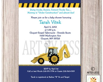 Backhoe Under Construction Boy Baby Shower Invitation PRINTABLE JPG File, Matching Thank you available