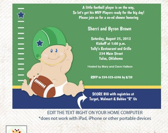 Football Baby Sports Theme Baby Shower Invitatons Print your Own Pdf File EDITABLE TEXT Instant Download