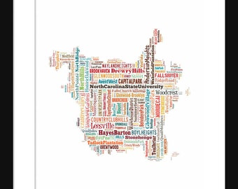 Raleigh NC Map Typography Color Map Poster Print