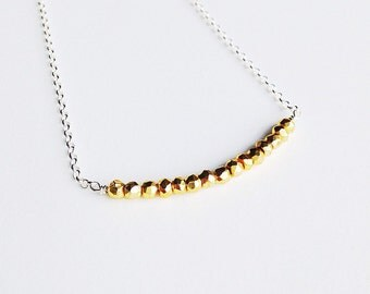 Sterling Silver Golden Pyrite Bar Necklace - Weddings - Brides -Bridesmaids