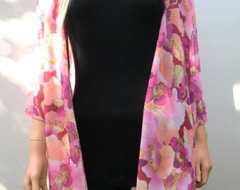 Kimono cardigan - End of summer sale-Sunset pink floral- Chiffon Layering piece-Many colors