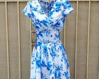 Spring floral print  vintage dress inspired from custom made