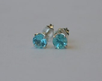 5mm Apatite Studs in Sterling Silver