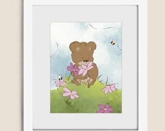 Pink Girls Room Art 11 x 14 Childrens Wall Print , Teddy Bear Wall Art for Nursery Decor, Babys Girls Room Wall Decor (245)