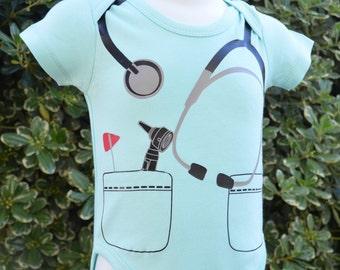 Dr or Nurse baby bodysuit or costume.