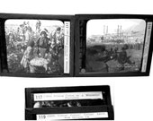2 Keystone Glass Slides. Mississippi Cotton Plantation. New Orleans Levee. African American Images. Circa 1915.
