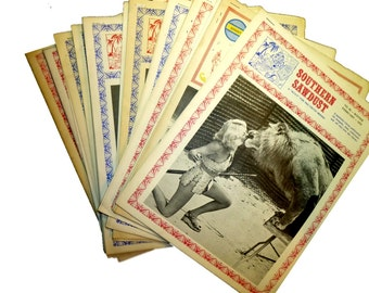 14 Vintage Issues of Southern Sawdust Circus Newsletter. Photos, News, History. FREE SHIP