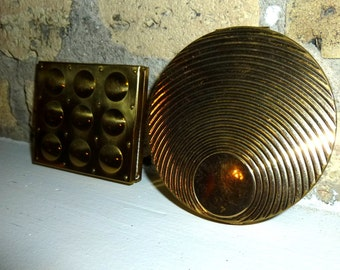Circles and Squares. Two Mod Gold Tone Vintage Compacts. 1960s.