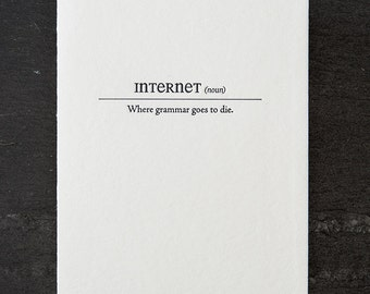 internet definition. letterpress card. #153
