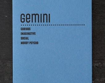 gemini. letterpress card. #212