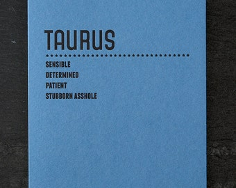 taurus. letterpress card. #211