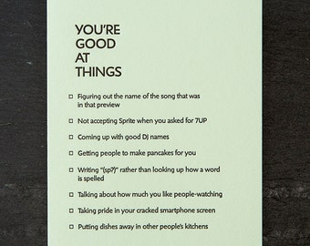 you're good at things: that song. letterpress card. #382