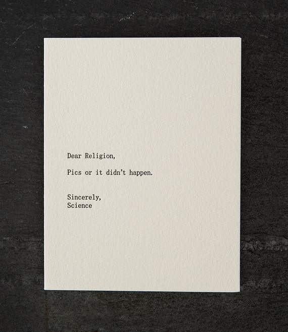 religion/science. letterpress card. #274