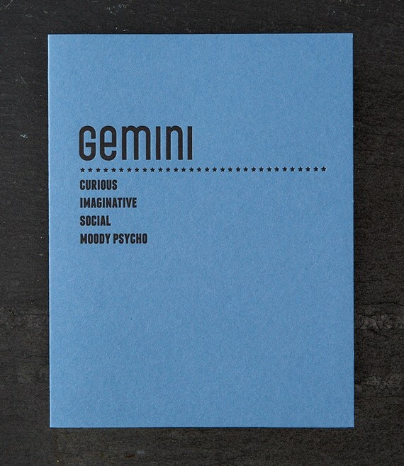 gemini. letterpress card. #212
