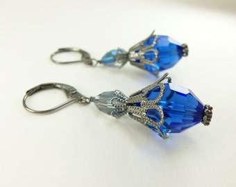 Blue Dangle Earrings Blue Earrings Glass Beaded Dangle Earrings Gunmetal Royal Blue Dangle Earrings