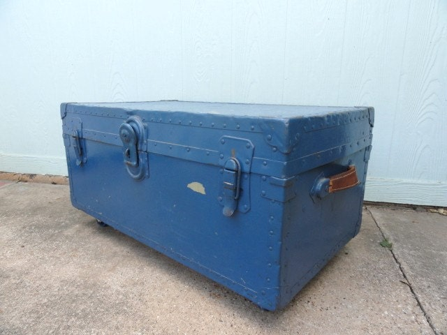 Vintage Blue Trunk Coffee Table Metal Storage Organizer Hinged