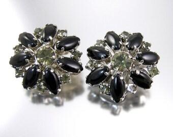 Black Glass and Rhinestone Earrings Clips