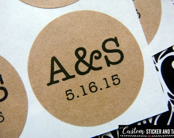 "63 custom initials and date circle stickers 1"", (more sizes to choose) brown kraft - wedding favors, envelope seals (S-52)"