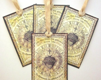 Handmade Religious Gift Tag Ex Voto French Holy Card