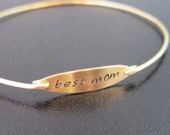 Best Mom Bracelet, Best Mom Jewelry, Mother Gift, Mothers Day Jewelry, Mothers Day Gift Idea, Mom, Mothers Bracelet Bangle, Mother Jewelry