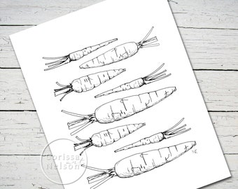 Carrots in a Row - Coloring Sheet - Illustration Printable - 8.5x11