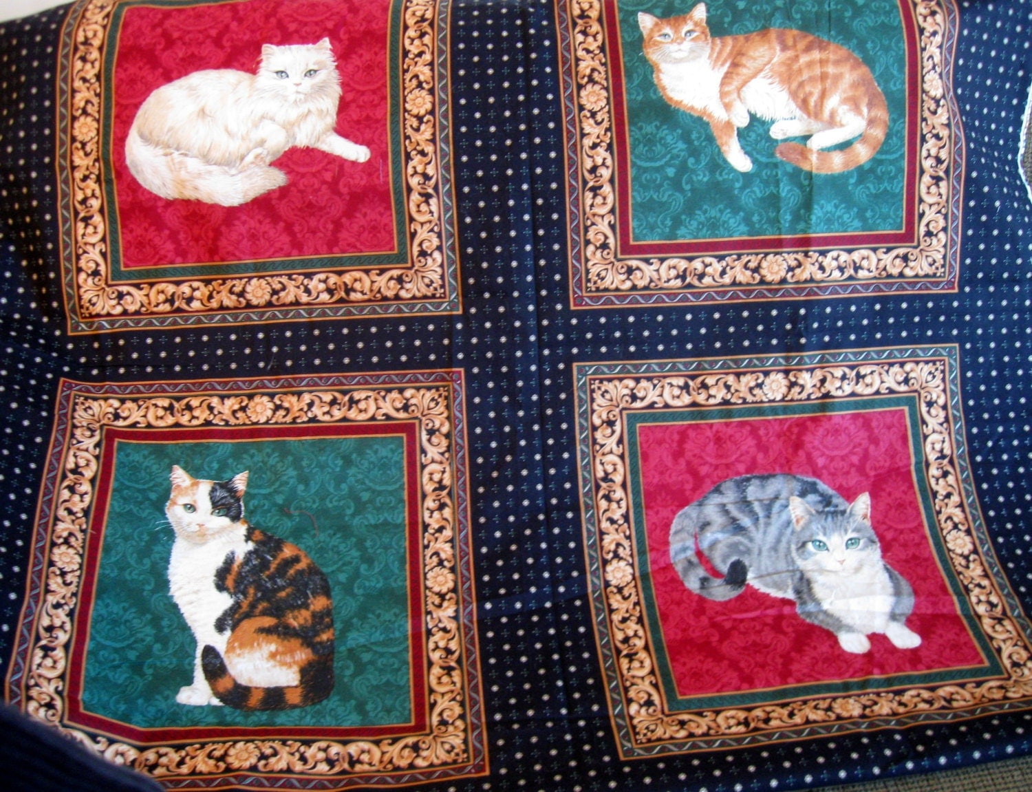 Cat kittens material fabric quilting fabric fabric panel for Quilting material