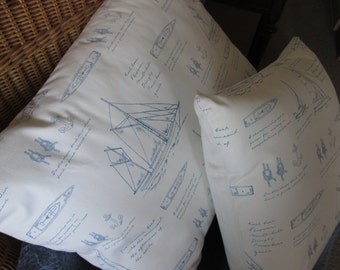 Sailing Decor Large Handmade Decorative Pillow Yachts, Boats, Sailing Knots