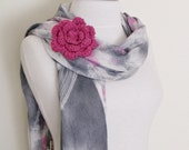 Grey Multicolor Cotton Scarf- Women Scarf with flower brooch-Ready For shipping