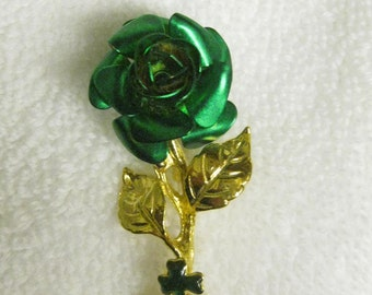 Vintage St Pattys Day Rose Green Petal Metal Rose Pin Gold Leaves with Miniature Three Leaf Clover St Paddys Day