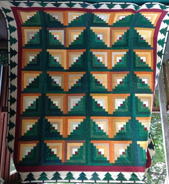 Log Cabin Quilt Pattern Free Queen Size : Log Cabin queen size quilt by LoneTreePatterns on Etsy