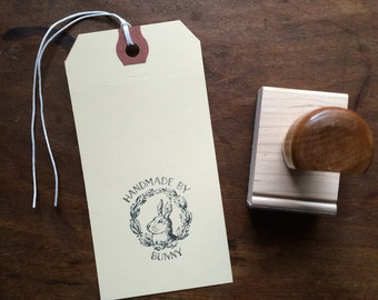 "Custom ""Handmade By"" Stamp - Bespoke Stamp for your handmade items - Includes custom artwork - Up to 1.5x1.5"" in size"